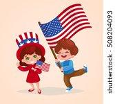 american children holding... | Shutterstock .eps vector #508204093