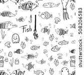 hand drawn fish pattern.... | Shutterstock .eps vector #508206583