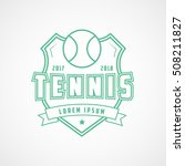 tennis emblem green line icon... | Shutterstock .eps vector #508211827