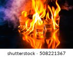 glasses with burning alcohol on ... | Shutterstock . vector #508221367