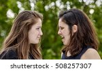two girls having a disagreement ... | Shutterstock . vector #508257307