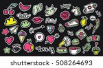 set of pop art fashion patches  ... | Shutterstock .eps vector #508264693