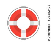life buoy with rope on white... | Shutterstock .eps vector #508352473