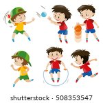boy playing with ball and... | Shutterstock .eps vector #508353547