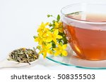 cup of natural tea and st. john'... | Shutterstock . vector #508355503