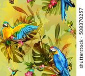 seamless pattern of parrots on... | Shutterstock .eps vector #508370257