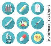 Medical Circle Icons Set With...