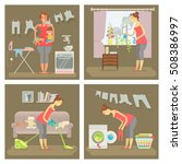 set of housewife in funny... | Shutterstock .eps vector #508386997