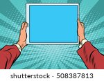 pop art electronic tablet in... | Shutterstock .eps vector #508387813
