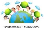 happy children around the world ... | Shutterstock .eps vector #508390093