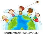 kids running around the world... | Shutterstock .eps vector #508390237