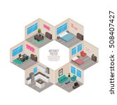 isometric house rooms  home set | Shutterstock .eps vector #508407427