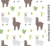 Seamless Pattern With Lamas An...