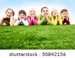 image of happy boys and girls... | Shutterstock . vector #50842156