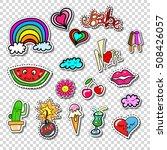 big set of girl fashion comics... | Shutterstock .eps vector #508426057