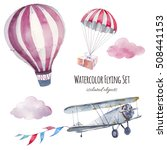 Watercolor Flying Set. Hand...