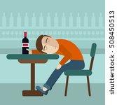 drunk man sitting fall asleep...   Shutterstock .eps vector #508450513