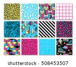 memphis seamless patterns with... | Shutterstock .eps vector #508453507