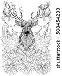 Zentangle Stylized Horned Deer...