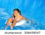 adorable girl in swimming pool  ... | Shutterstock . vector #508458547