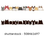 Cats Border Set With Silhouette
