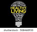 healthy living bulb word cloud...