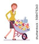 businesswoman pushing a...   Shutterstock .eps vector #508475263