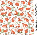 forest fox vector pattern | Shutterstock .eps vector #508475803