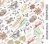 seamless pattern with spices   Shutterstock .eps vector #508494283
