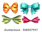 set ribbon and bow watercolor... | Shutterstock . vector #508507957