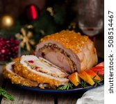 Small photo of Pork Loin Roll Stuffed with Chicken Breast, Apples, Cranberries, Walnuts and Herbs, square