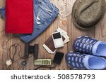 outfit of traveler and... | Shutterstock . vector #508578793