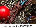 climbing and travel equipment... | Shutterstock . vector #508579273