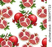 ripe fruit of red pomegranate... | Shutterstock . vector #508597723