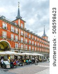 Small photo of MADRID, SPAIN - SEPTEMBER 16, 2016: View of Plaza Mayor - a grand arcaded square in the center of Madrid. Plaza Mayor is very popular with tourists and locals alike.