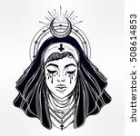 illustration of a catholic nun... | Shutterstock .eps vector #508614853