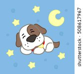 cartoon cute puppy with stars...   Shutterstock .eps vector #508617967