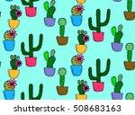 Cactus Seamless Pattern. Cactu...