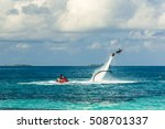 silhouette of a fly board rider ... | Shutterstock . vector #508701337