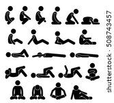 various squatting sitting lying ...