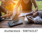 business team working on laptop ... | Shutterstock . vector #508763137