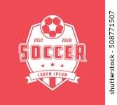 soccer emblem flat icon on red... | Shutterstock .eps vector #508771507