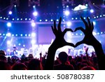 concert crowd raising heart... | Shutterstock . vector #508780387