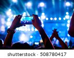 people holding smart phones and ... | Shutterstock . vector #508780417