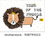 cute lion cartoon on striped... | Shutterstock .eps vector #508794313