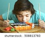 preteen handsome boy smell... | Shutterstock . vector #508813783