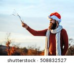 young handsome bearded santa... | Shutterstock . vector #508832527