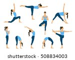 Set Of Yoga Poses. Young Women...