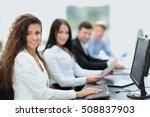 young  businesswoman working in ... | Shutterstock . vector #508837903
