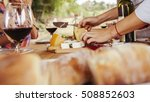 friends drinking wine and... | Shutterstock . vector #508852603